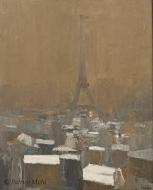 Paris ,la tour Eiffel,effet de neige.Roger Mühl